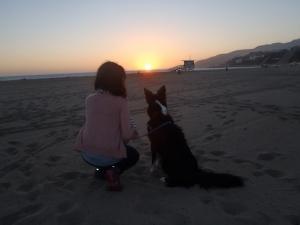 Pao y Nacho en el primer atardecer. Plesiadides Beach, Santa Monica, CA