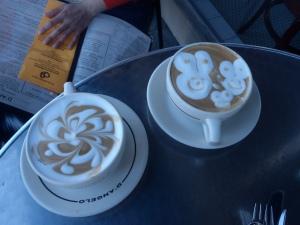 Dos latte. D'Angelo, Santa Barbara, CA